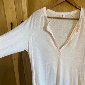James Perse Pale Pink Split Neck T-shirt 4